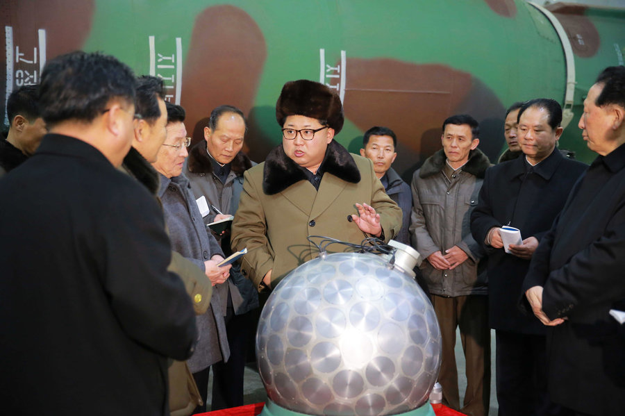 Kim Jong-un posing with a bomb, maybe.
